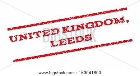 United Kingdom Leeds watermark stamp. Text caption between parallel lines with grunge design style. Rubber seal stamp with scratched texture. Vector red color ink imprint on a white background.