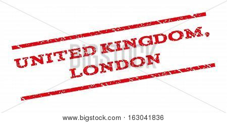 United Kingdom London watermark stamp. Text tag between parallel lines with grunge design style. Rubber seal stamp with unclean texture. Vector red color ink imprint on a white background.