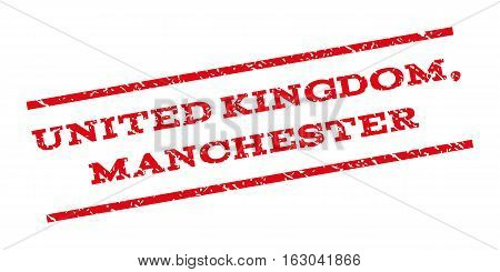 United Kingdom Manchester watermark stamp. Text tag between parallel lines with grunge design style. Rubber seal stamp with unclean texture. Vector red color ink imprint on a white background.