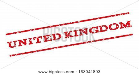 United Kingdom watermark stamp. Text caption between parallel lines with grunge design style. Rubber seal stamp with dirty texture. Vector red color ink imprint on a white background.