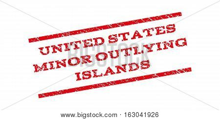 United States Minor Outlying Islands watermark stamp. Text tag between parallel lines with grunge design style. Rubber seal stamp with dust texture. Vector red color ink imprint on a white background.