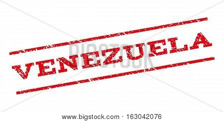 Venezuela watermark stamp. Text caption between parallel lines with grunge design style. Rubber seal stamp with dirty texture. Vector red color ink imprint on a white background.