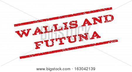 Wallis And Futuna watermark stamp. Text caption between parallel lines with grunge design style. Rubber seal stamp with scratched texture. Vector red color ink imprint on a white background.