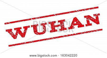 Wuhan watermark stamp. Text caption between parallel lines with grunge design style. Rubber seal stamp with unclean texture. Vector red color ink imprint on a white background.