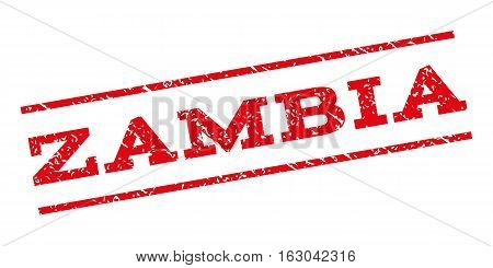 Zambia watermark stamp. Text caption between parallel lines with grunge design style. Rubber seal stamp with scratched texture. Vector red color ink imprint on a white background.