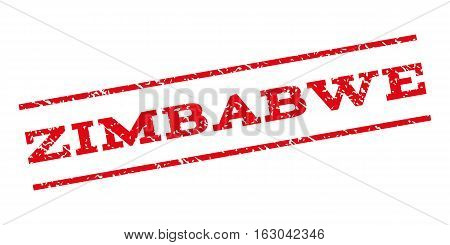 Zimbabwe watermark stamp. Text caption between parallel lines with grunge design style. Rubber seal stamp with scratched texture. Vector red color ink imprint on a white background.