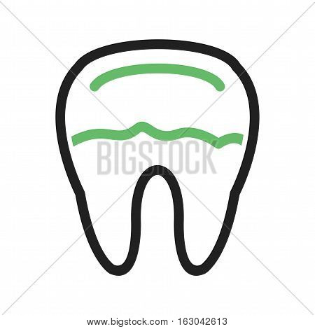 Tooth, decay, dental icon vector image. Can also be used for dentist equipment. Suitable for mobile apps, web apps and print media.