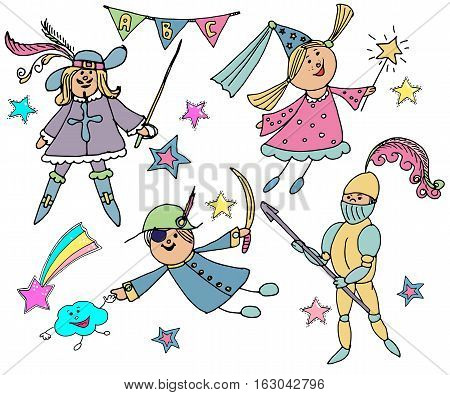 Hand drawn vector cute children. Kids in carnival costumes. Fairy a knight pirate musketeer. Children's party. Birthday celebration.