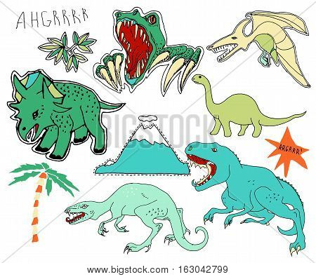 Cute embroidery patches and stickers collection.Hand drawn vector sketches. Dinosaurs volcano palm trees. Tyrannosaurus triceratops diplodocus brontosaurus velociraptor pterodactyl.