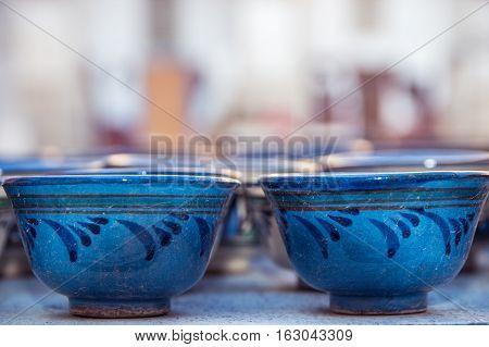 Two Cups With Traditional Uzbekistan Ornament On A Street Market Of Bukhara, Uzbekistan