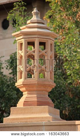 Lamp post carved in stone on the compound of Umaid Bhavan Palace Jodhpur Rajasthan India Asia