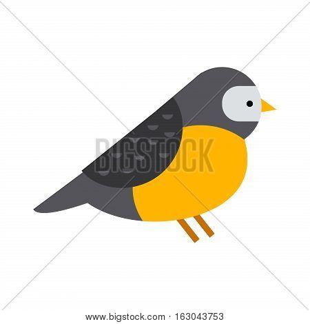 Cartoon bullfinch and winter bird illustration isolated
