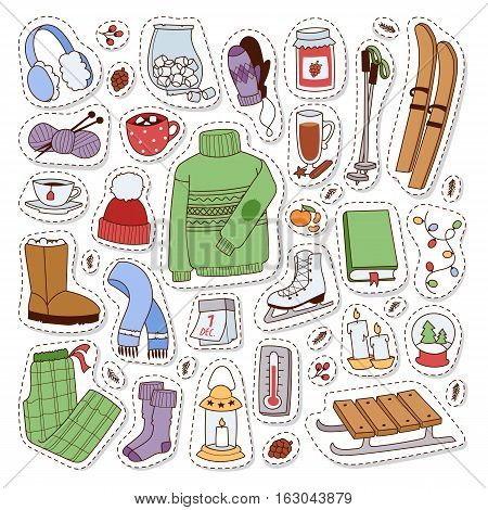 Winter icons christmas season patch elements. Season decoration winter time sport leisure icons. Vector seasonal pastime holiday cold time skate symbols.