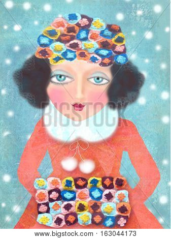 Christmas card with elegantly dressed woman. Winter beauty woman. Holiday fashion portrait. Hand drawn girl on snowing background. Winter girl postcard.