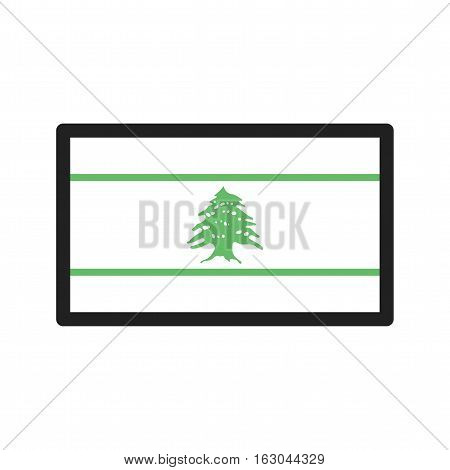 Lebanon, flag, national icon vector image. Can also be used for flags. Suitable for web apps, mobile apps and print media.