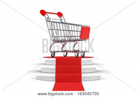 Shopping Cart over Round White Pedestal with Steps and a Red Carpet on a white background. 3d Rendering