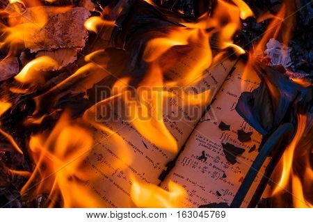 Burning a book, a textbook on higher mathematics