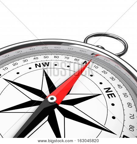 Modern Compass Closeup on a white background. 3d Rendering