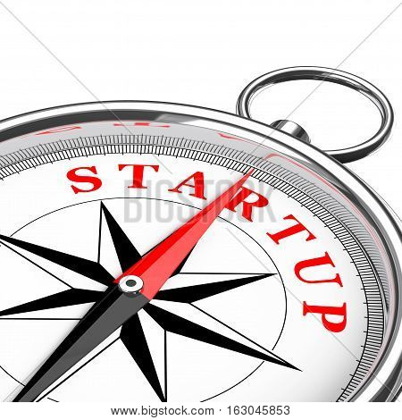 Direction to Startup Conceptual Compass Closeup on a white background. 3d Rendering