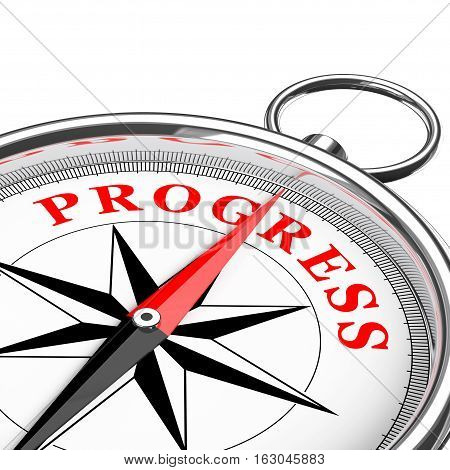 Direction to Progress Conceptual Compass Closeup on a white background. 3d Rendering