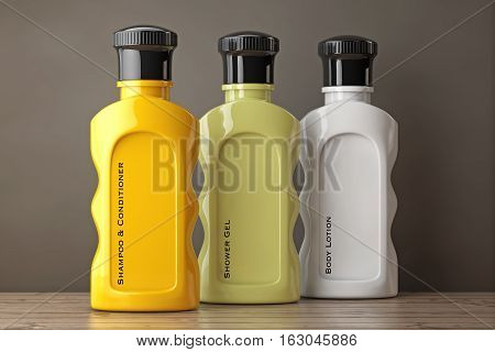 Multicolour Hotel Cosmetic Bottles on a wooden table. 3d Rendering