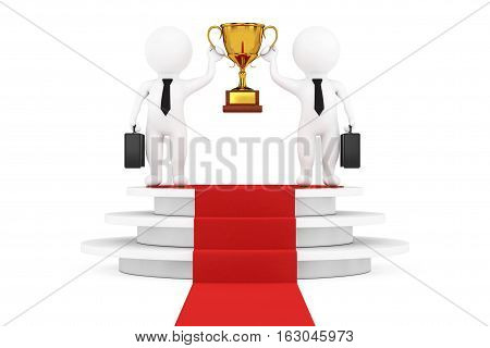 3d Businessmans Persons with a Gold Trophy in Hands over Round White Pedestal with Steps and a Red Carpet on a white background. 3d Rendering