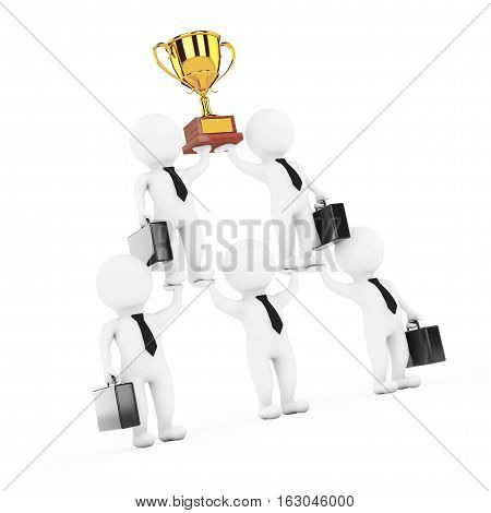 3d Businessmans Team Character Pyramid with Golden Trophy Shows Hierarchy And Teamwork on a white background. 3d Rendering