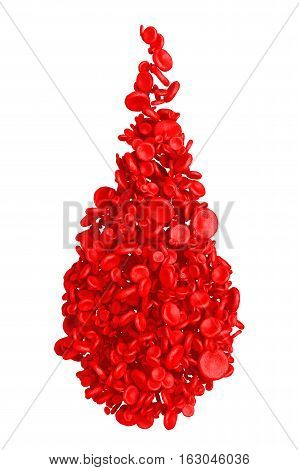 High Detail Red Blood Cells in Shape of Blood Drop on a white background. 3d Rendering