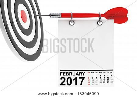 Calendar February 2017 on blank note paper with free space for your text with target. 3d Rendering