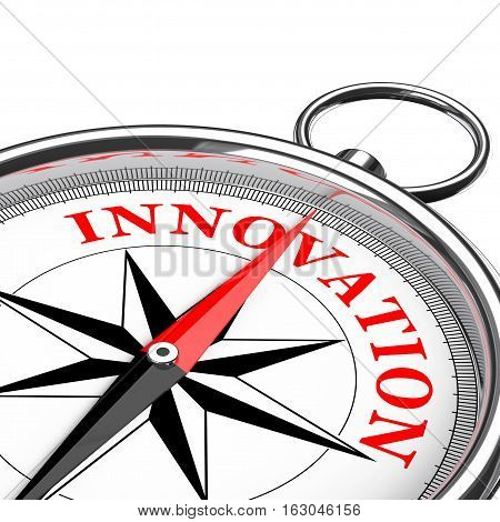 Direction to Innovation Conceptual Compass Closeup on a white background. 3d Rendering