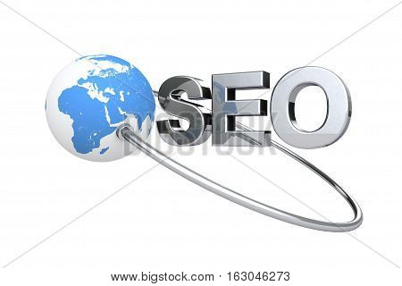Blue Globe Earth and SEO Sign on a white background. 3d Rendering