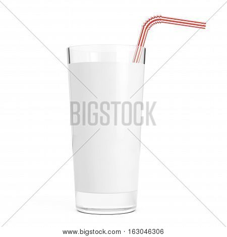 Glass of Milk with Red Straw Tube on a white background. 3d Rendering