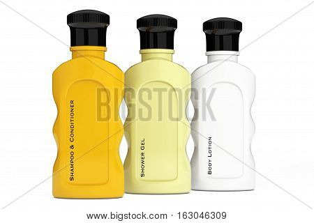 Multicolour Hotel Cosmetic Bottles on a white background. 3d Rendering