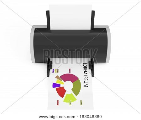 Modern Printer Print Investment Chart on a white background. 3d Rendering