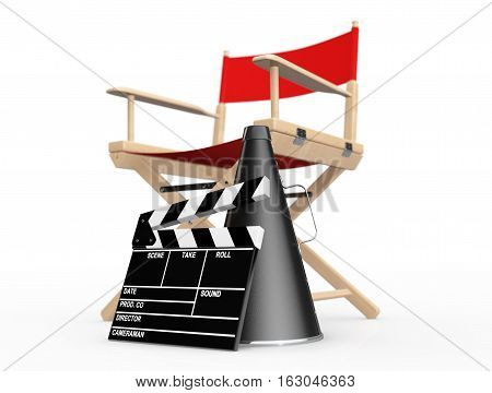 Cinema Industry Concept. Red Director Chair Movie Clapper and Megaphone on a white background. 3d Rendering