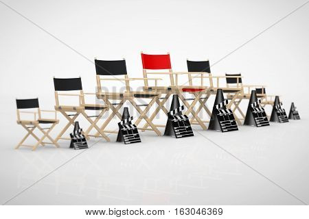 Cinema Industry Concept. Director Chairs Movie Clappers and Megaphones in Row with Red One in Centre on a white background. 3d Rendering