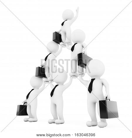3d Businessmans Team Character Pyramid Shows Hierarchy And Teamwork on a white background. 3d Rendering