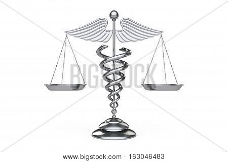 Medical Caduceus Symbol as Scales on a white background. 3d Rendering