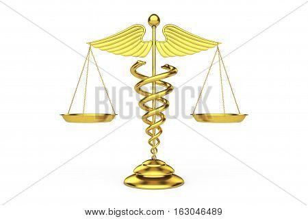 Golden Medical Caduceus Symbol as Scales on a white background. 3d Rendering