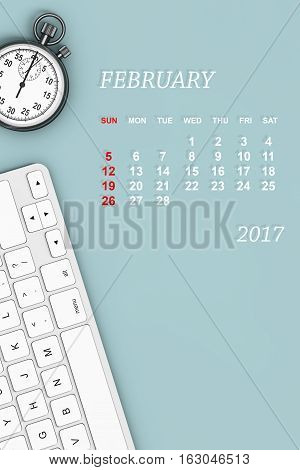2017 year calendar. February calendar with Stopwatch and Keyboard. 3d Rendering