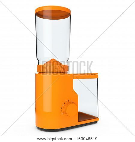 Orange Coffee Grinder on a white background. 3d Rendering