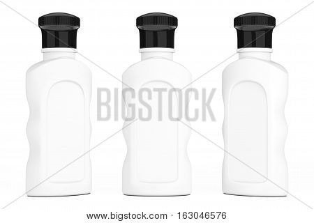 Blank White Hotel Cosmetic Bottles on a white background. 3d Rendering