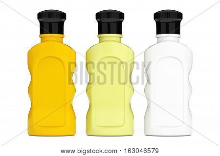 Blank Multicolour Hotel Cosmetic Bottles on a white background. 3d Rendering
