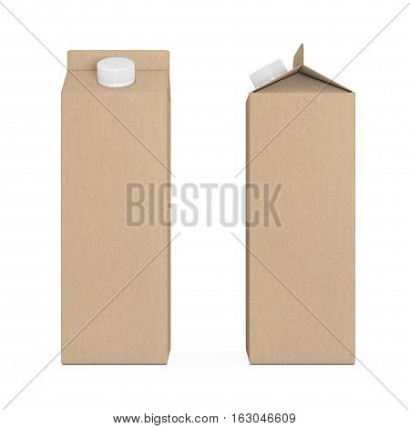 Blank Milk or Juice Carton Boxes on a white background. 3d Rendering