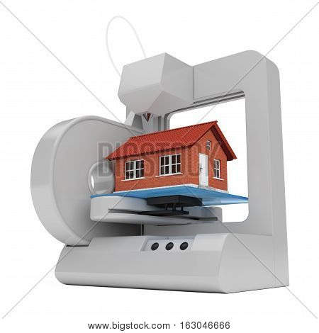 Industrial 3D printer Prints a House Building on a white background. 3d Rendering