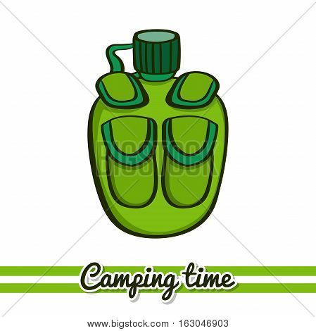 Hand drawn flask isolated on white background. One image of series Camping time. Vector illustration