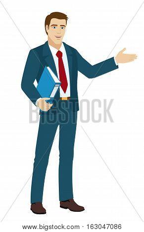 Businessman shows something beside of him. Businessman holding a folder. Vector illustration.