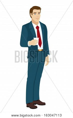 Businessman with disposable coffee cup. Vector illustration.