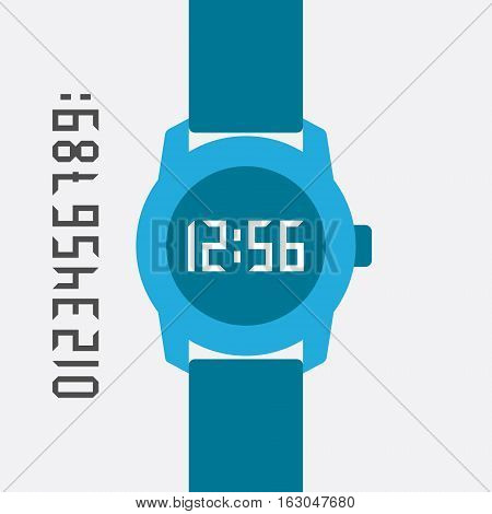 Flat Hand Watch. Minimalistic Web and mobile interface template. Vector design elements