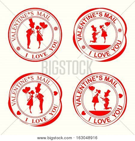 A set of stamps with silhouettes of lovers, the girl and the guy in the hat on my knees with flowers with wedding ring